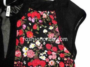 Floral Black Women Top