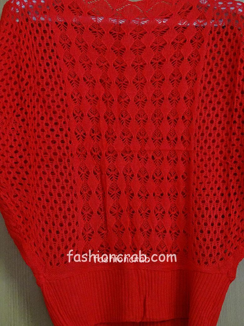 Knitted – Red Crochet Women Top