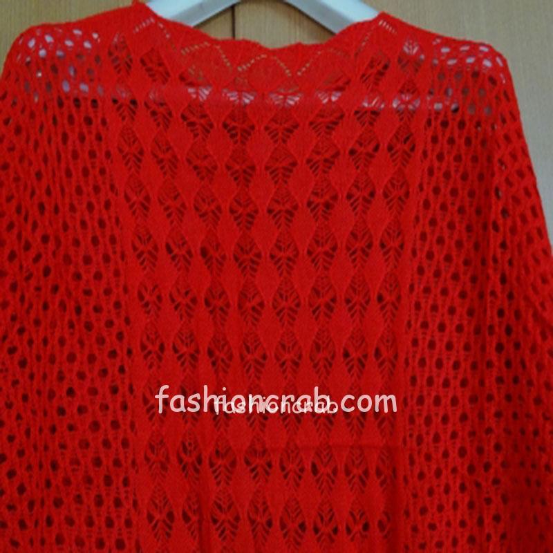 Knitted Red Crochet Women Top