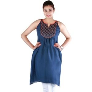 A-Line Womens Geometrical Embroidery Cotton Kurti