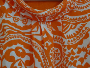 White and Orange Boat Neck Top for Women