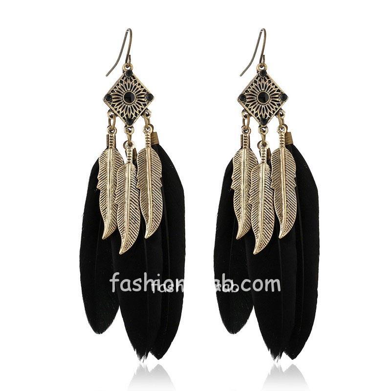 Black Feather Drop Long Earrings for Women