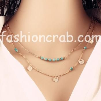 Multilayer Golden Color Chain Necklace
