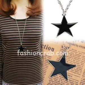 Elegant black star pentagram necklace