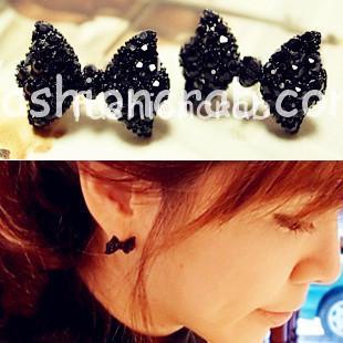 Black Butterfly Bow Stud Earrings for Women