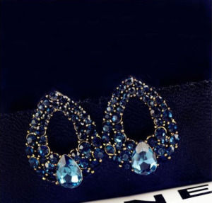 Blue Crystal Vintage Stud Earrings For Women