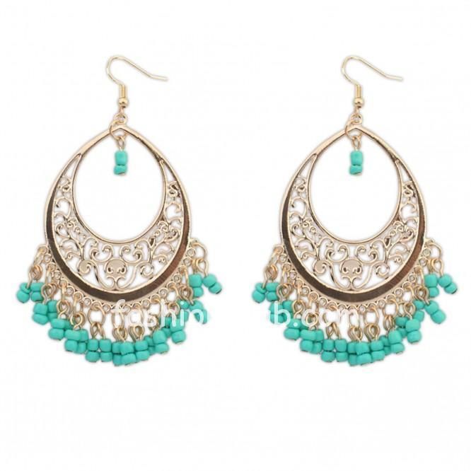 Ethnic Style Blue Drop Earrings For Women-02