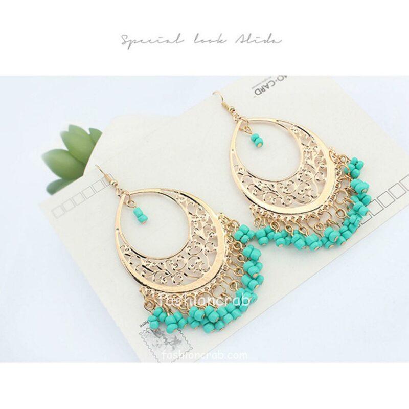 Ethnic Style Blue Drop Earrings For Women