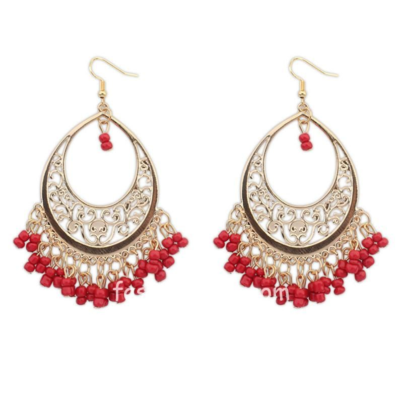 Ethnic Style Red Drop Earrings For Women