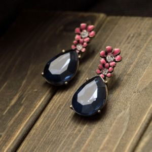 Dark Blue Flower Stud Fashion Earring for Women