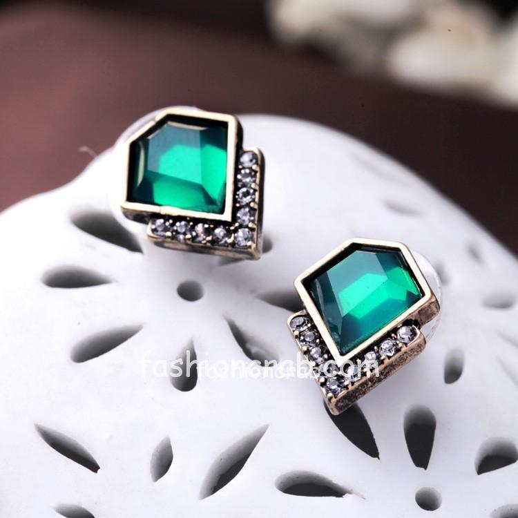 Green Crystal Stud Earring Summer Jewelry for Women