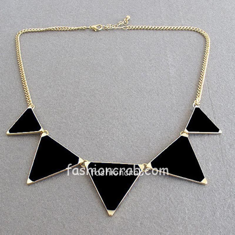 Hot Black Geometrical Triangle Necklace Jewelry