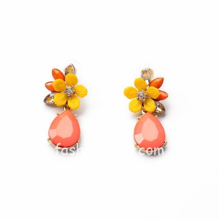 Orange Flower Stud Designer Earrings for Women