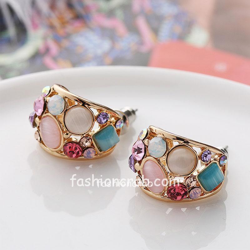 Pink Crystal Stud Earrings for Women