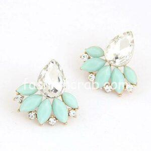 Flower Crystal Gem Cubic Zircon Stud Earrings For Women