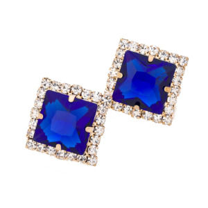 Blue Geometric Crystal Stud Earrings for Women
