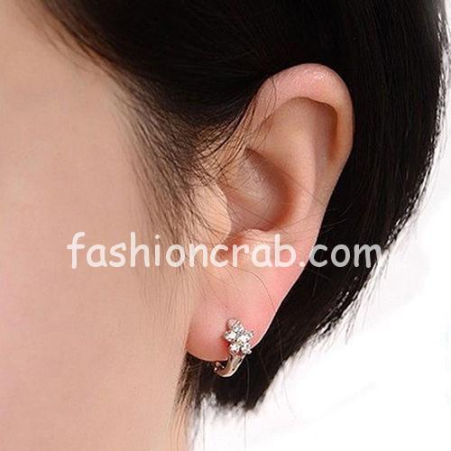 Lady Snowflake Leverback Huggie Hoop Earrings for Women