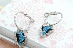 Blue Butterfly Wild Crystal Hoop Earrings For Women