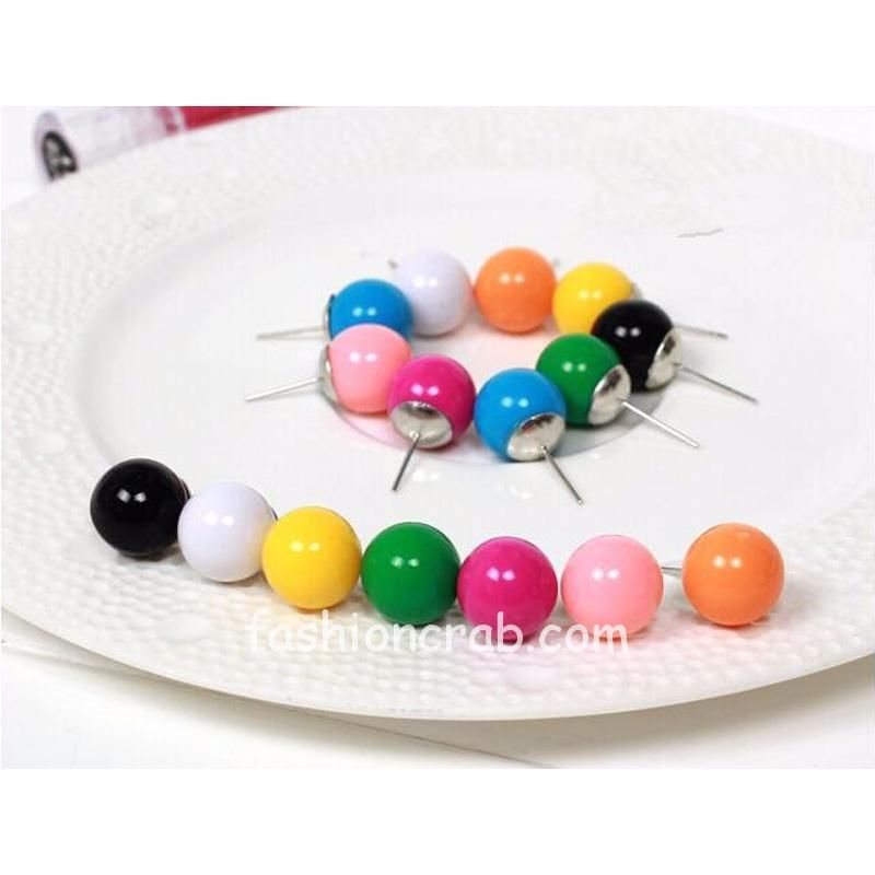 Candy Colored Ball Earrings For Women