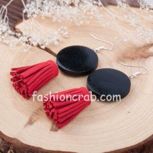 Handmade Black Round Wood Beaded Velvet Fuzzy PeachTassel Earrings for Women