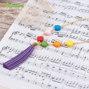 Handmade Random Color Flat Round Bohemia Wood Beaded Golden Tassel Necklace for Women