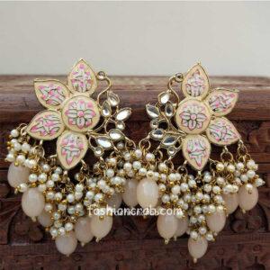 Peach Color Enamel Pearl Embellished Chandbali Earring