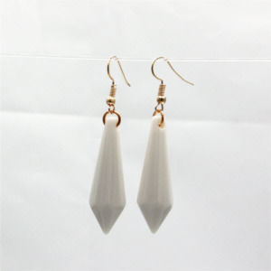 White Geometric Bullet Dangling Long Statement Earrings For Women