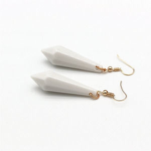White Geometric Bullet Dangling Long Statement Earrings For Women