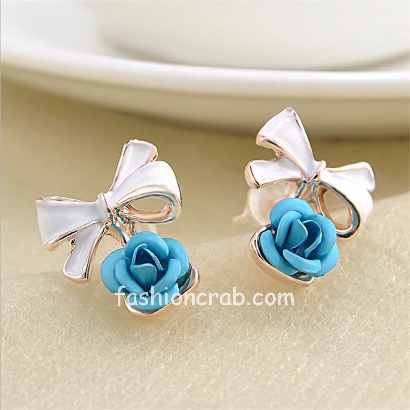 Trendy Bow Light Blue Flower Stud Earrings for Women