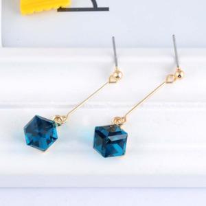 Blue Crystal Long Women Dangle Earring