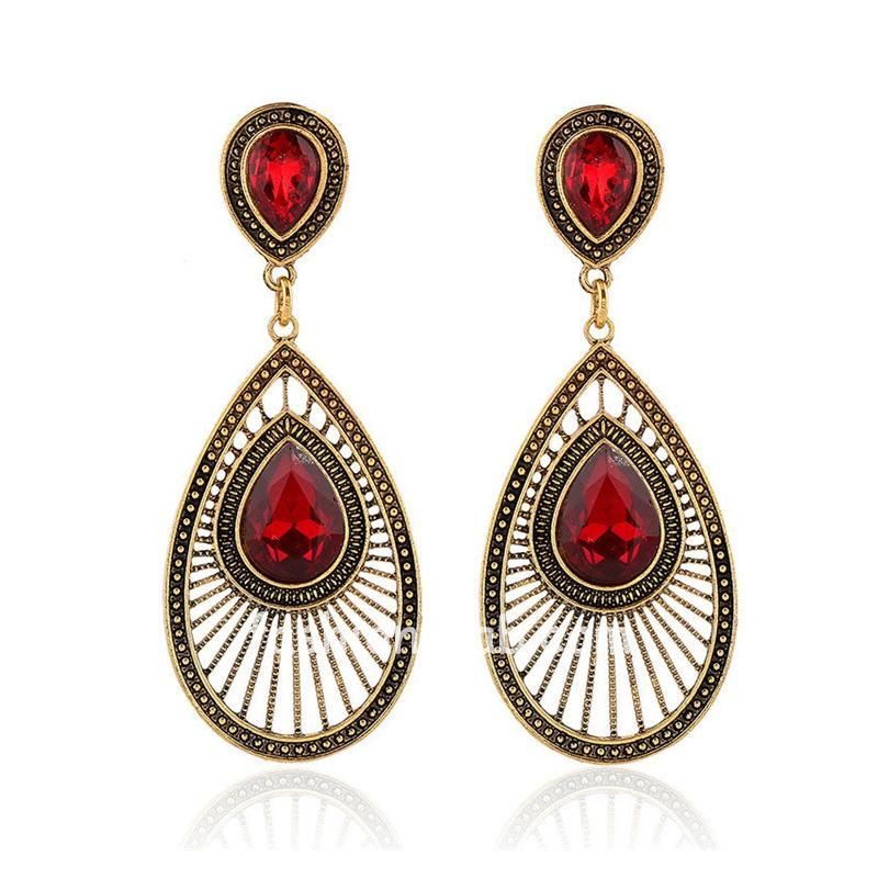 Ethnic Red Crystal Long Golden Earring