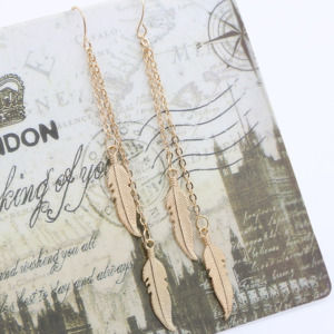 Golden Double Chain Women Tassel Earrings