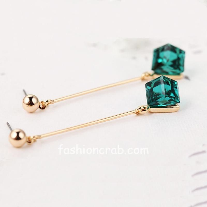 Green Crystal Long Women Dangle Earring