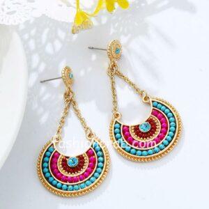 Multicolour Beads Long Pendant Ethnic Dangle Earrings For Women