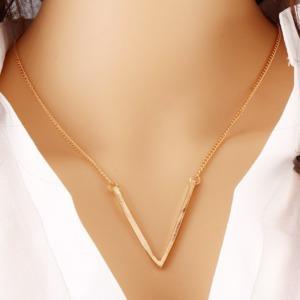 V Shaped Women Pendant Golden Chain Necklace