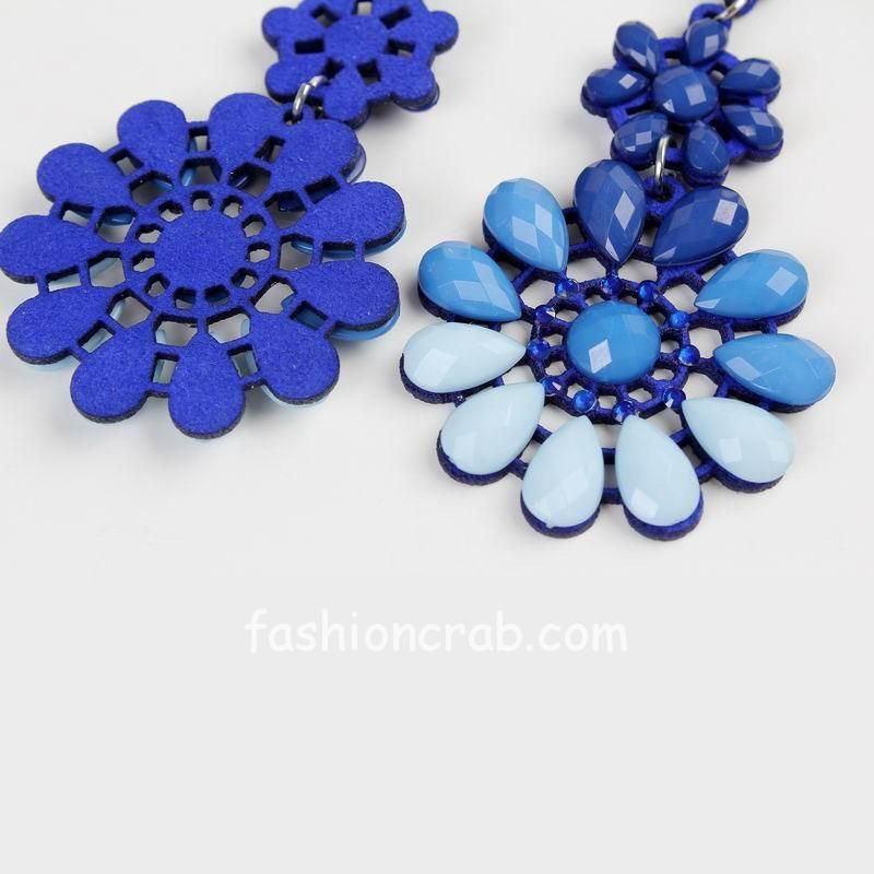 Women Royal Blue Long Flower Earring