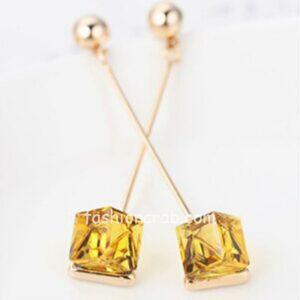 Yellow Crystal Long Women Dangle Earring