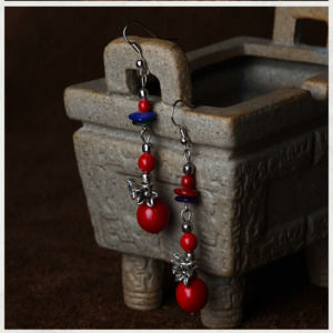 Handmade Cherry Red Colorful Vintage Statement Long Earrings For Women