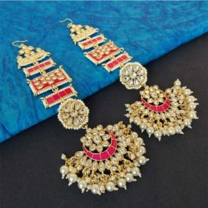 Bollywood Inspired Pink Meena Earrings