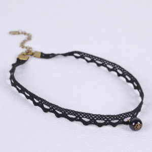 Girls Vintage Style Black Pearl Lace Choker Necklace