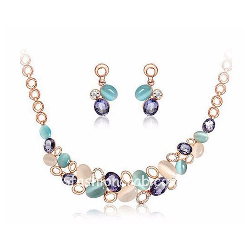 Multicolor Resin Beads Necklace With Earrings