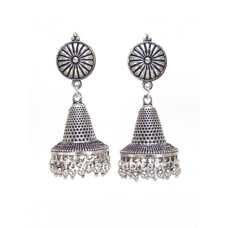Traditional Designer Oxidised Silver Jhumki Earrings