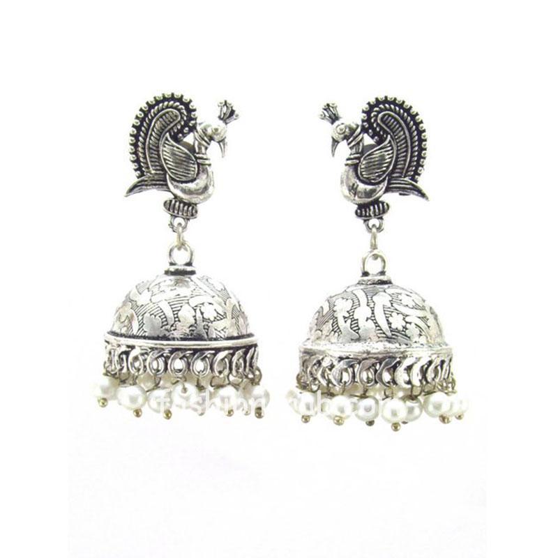 Unique Designer Peacock Style Oxidised Silver Jhumkis
