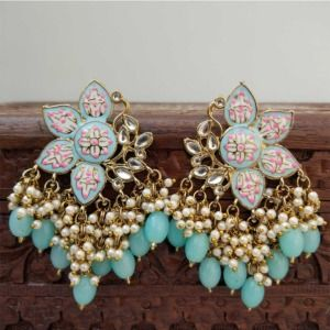 Blue Color Enamel Pearl Embellished Chandbali Earring