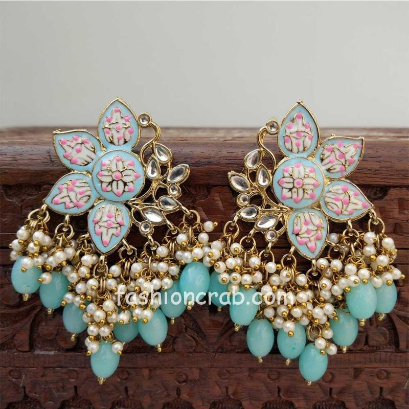 Blue Color Enamel Pearl Embellished Chandbali Earring