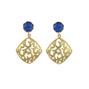 Blue Earring Set with Golden Designer Frame
