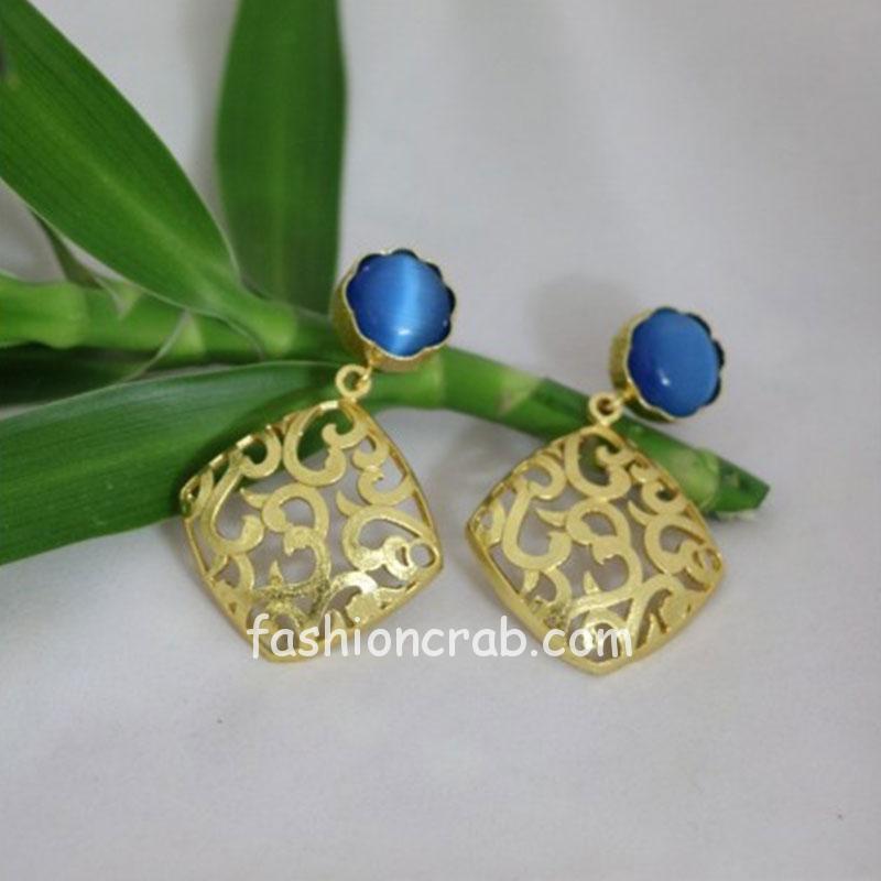 Blue Earring Set with Golden Designer Frame