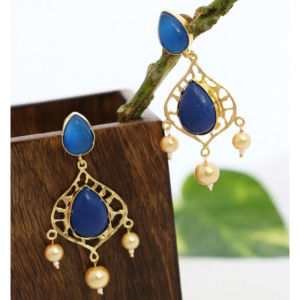 Designer Earring Set with Blue Stone