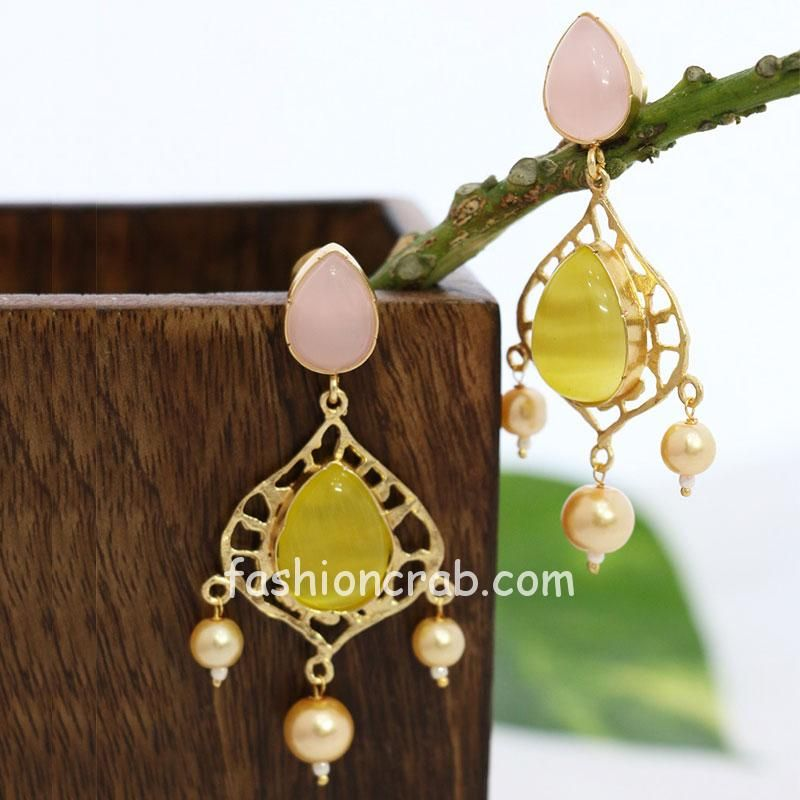 Designer Earring Set with Pink and Yellow Stone