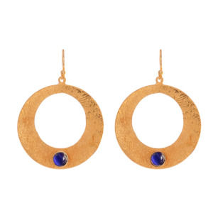 Designer Round Shape Earring with Blue Color Stone